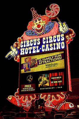 Photograph - Circus Circus Sign, Las Vegas by Tatiana Travelways