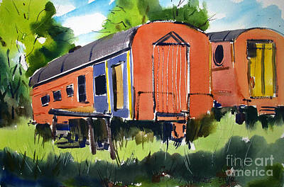 Amateur Painting - Circus Days Train Diners by Charlie Spear