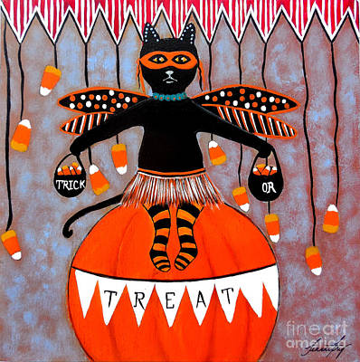 Painting - Circus Kitty Candy Corn Halloween by Jean Fry