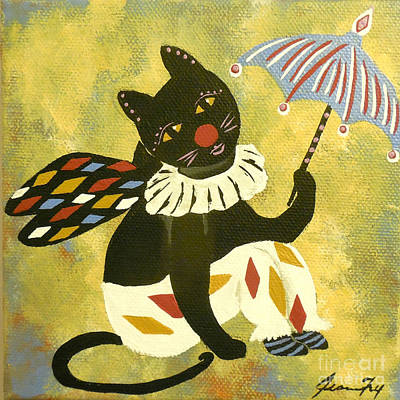 Painting - Circus Kitty Clowning Around by Jean Fry