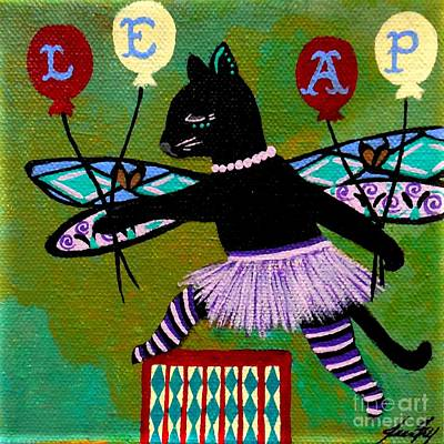 Painting - Circus Kitty Leap by Jean Fry