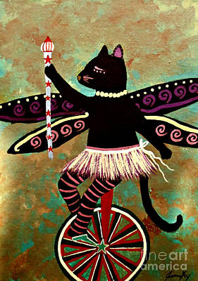 Painting - Circus Kitty Purrfect Performance by Jean Fry