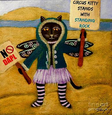Painting - Circus Kitty Stands With Standing Rock by Jean Fry