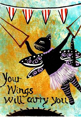Painting - Circus Kitty - Your Wings Will Carry You by Jean Fry