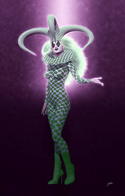 Super Girl Digital Art - Circus Of Horrors - Green Jester Woman by Joaquin Abella