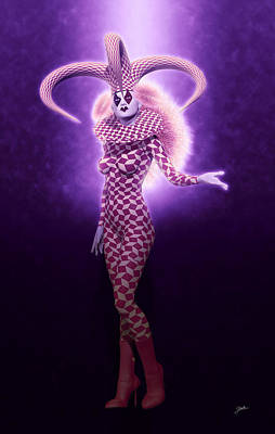 Circus Of Horrors - Purple Jester Woman Art Print