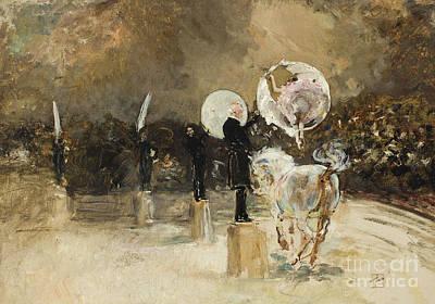 Horse Display Painting - Circus Ring At Night  by Robert Frederick Blum