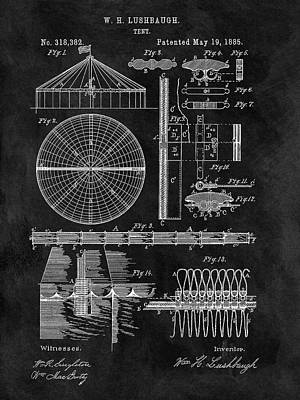 The Tiger Drawing - Circus Tent Patent by Dan Sproul