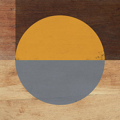Modern Abstract Art Mixed Media - Cirkel Yellow And Grey- Art By Linda Woods by Linda Woods