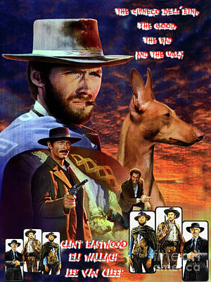 Painting - Cirneco Dell Etna Art Canvas Print - The Good, The Bad And The Ugly Movie Poster by Sandra Sij