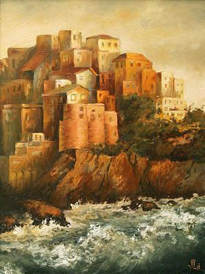 Cinque Terre Lerici Italia Painting Art Print by Vali Irina Ciobanu