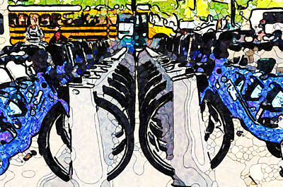 Painting - Citibikes For Rent by Jeelan Clark