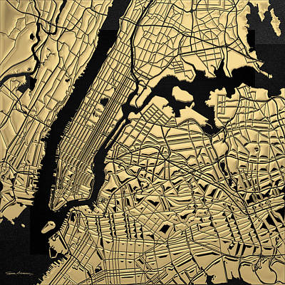 Digital Art - Cities Of Gold - Golden City Map New York On Black by Serge Averbukh