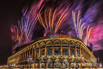 Pyrotechnics Digital Art - Citifield Fireworks by Jerry Fornarotto
