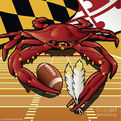 Sports Royalty-Free and Rights-Managed Images - Citizen Crab Redskin, Maryland Crab celebrating Washington Redskins football by Joe Barsin