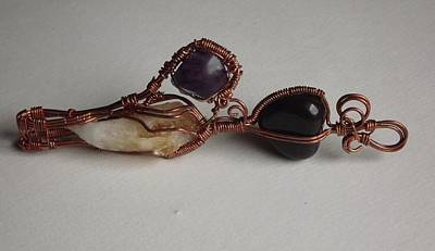 Wire Wrap Jewelry Jewelry - Citrine Fluorite And Black Onyx  by Martyna Gryko