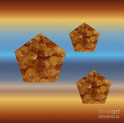 Mixed Media - Citrine Pentagons On Blue And Copper by Rachel Hannah