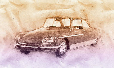 Mixed Media Royalty Free Images - Citroen DS 2 - Executive Car - 1955 - Automotive Art - Car Posters Royalty-Free Image by Studio Grafiikka