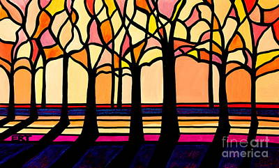 Elizaart Painting - Citrus Glass Trees by Elizabeth Robinette Tyndall