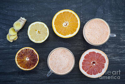 Lemon Photograph - Citrus Smoothies by Elena Elisseeva