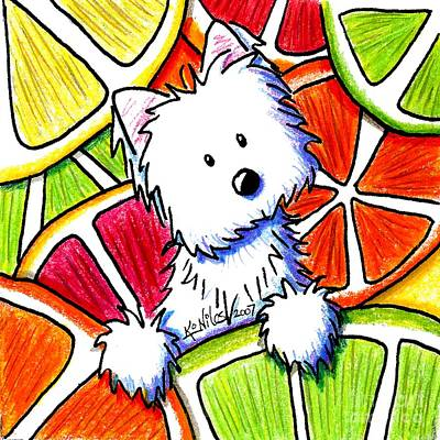Kiniart Painting - Citrus Westie by Kim Niles