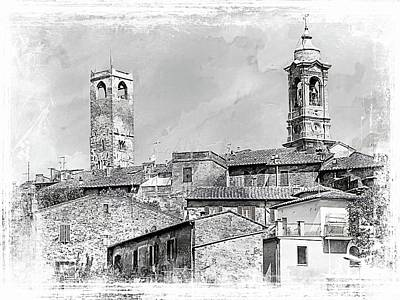 Photograph - Citta Della Pieve Skyline Black And White by Dorothy Berry-Lound