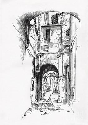 Drawing - Citta Di Castello Dip Pen Sketch by Paul Davenport