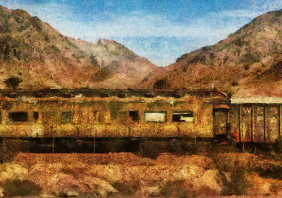 City - Arizona - Desert Train Art Print by Mike Savad
