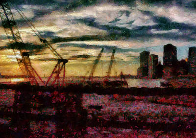 City - Ny - Overlooking The Hudson Art Print by Mike Savad