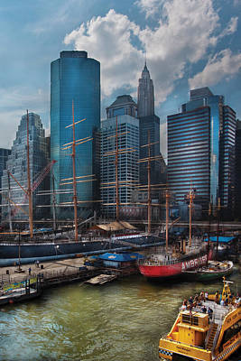 South Street Seaport Photograph - City - Ny - The New City by Mike Savad