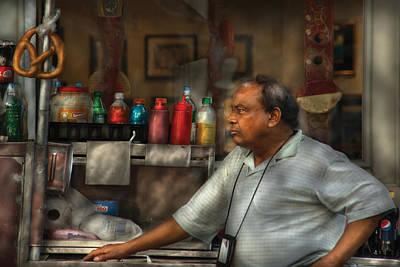 City - Ny - The Pretzel Vendor Art Print by Mike Savad