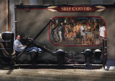 City - Ny South Street Seaport - Ship Carvers Art Print by Mike Savad