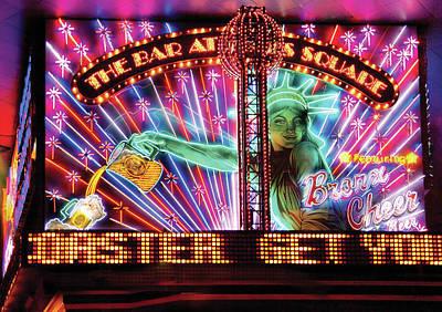 City - Vegas - Ny - The Bar At Times Square Art Print by Mike Savad