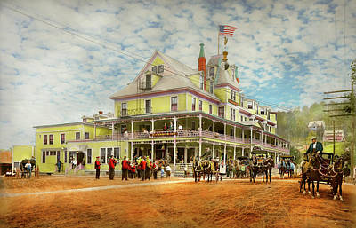 Photograph - City - Adirondack Ny - Riverside Inn 1909 by Mike Savad