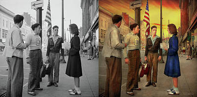Photograph - City - Amesterdam Ny - The Bowling Score 1941 - Side By Side by Mike Savad