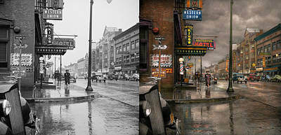 Photograph - City - Amsterdam Ny -  Call 666 For Taxi 1941 - Side By Side by Mike Savad