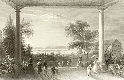 Garden Drawing - City And Lake Of Constance From The Chateau Wolfsberg by William Henry Bartlett