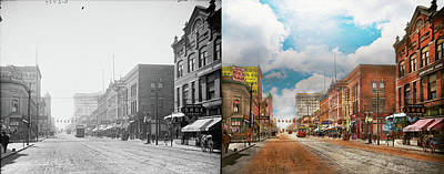 Photograph - City - Arkansas - Main St 1925 - Side By Side by Mike Savad