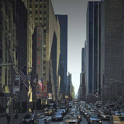 City-art 6th Avenue Ny  Art Print by Melanie Viola