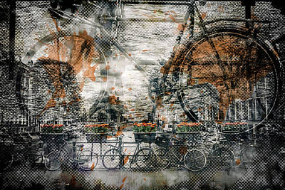 City-art Amsterdam Bicycles  Art Print by Melanie Viola