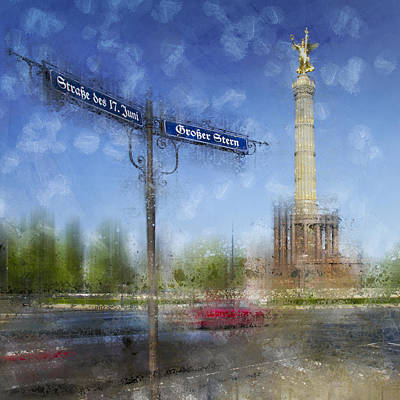 Traffic Digital Art - City-art Berlin Victory Column by Melanie Viola