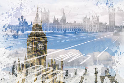 Abstract Sights Digital Art - City Art Big Ben And Westminster Bridge by Melanie Viola