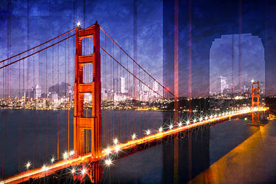 Illuminated Photograph - City Art Golden Gate Bridge Composing by Melanie Viola