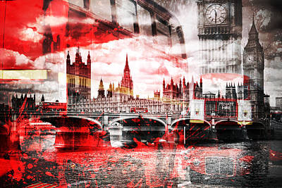 Historic Bridge Photograph - City-art London Red Bus Composing by Melanie Viola