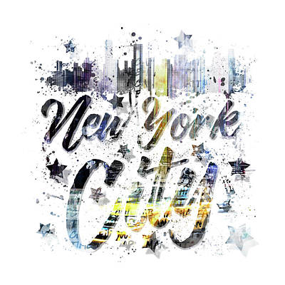 Times Square Digital Art - City Art Nyc Collage - Typography by Melanie Viola