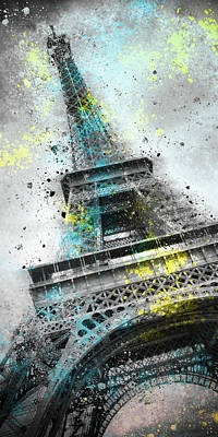 Abstract Sights Digital Art - City-art Paris Eiffel Tower IIi by Melanie Viola