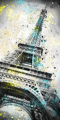 Outdoor Digital Art - City-art Paris Eiffel Tower Iv by Melanie Viola