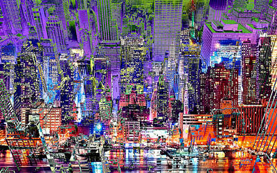 City Art Syncopation Cityscape Art Print by Mary Clanahan