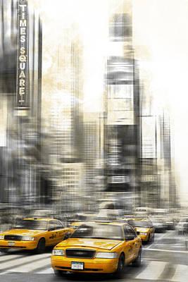 City-art Times Square Art Print by Melanie Viola