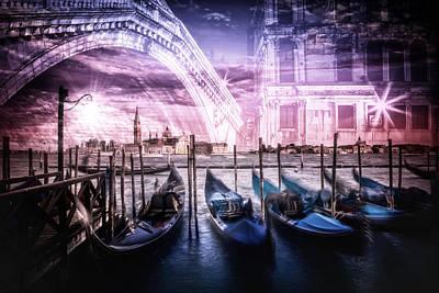 Sightseeing Digital Art - City Art Venice Gondola And Rialto Bridge by Melanie Viola